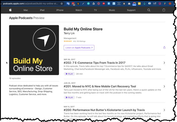 iIunes for Apple Build My Online Store Podcast